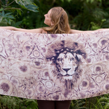 Sarong Scarf Lion Totem Alchemy Jungle Pashmina Wearable Art, Festival beach Gypsy Bohemian Tribal Clothing Nature Ajjaya Rave Beach Shawl
