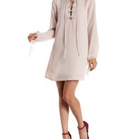 Stone Long Sleeve Lace-Up Shift Dress by Charlotte Russe