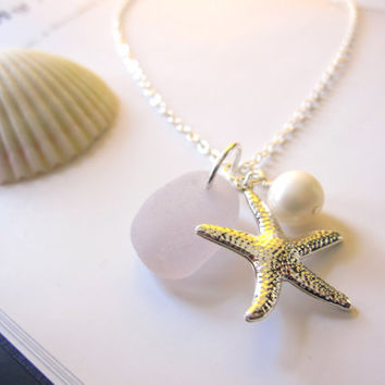 Nautical gift for girlfriends, sisters or bridal party- Lavender beachglass Necklace with Starfish & swarovski pearl -  FREE SHIPPING
