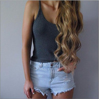 Gray Sleeveless T-Shirt