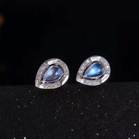 natural blue moonstone stud earrings 925 silver Natural gemstone earring women fashion personality stud Earrings for party