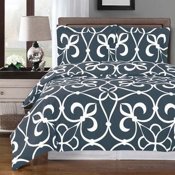 Victoria Gray Duvet Cover 100% Egyptian Cotton
