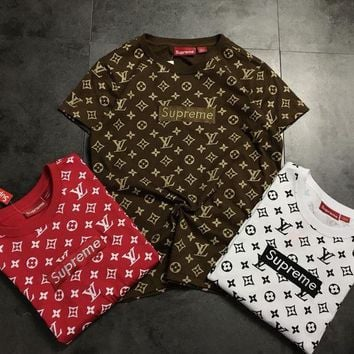 LV Louis Vuitton x Supreme Box Logo Fashion Short Sleeve T-Shirt F
