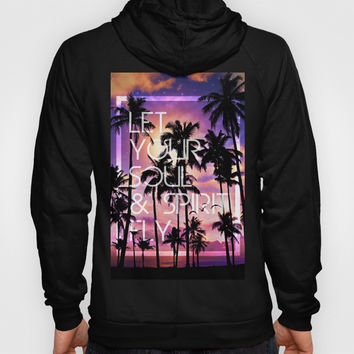 Smell the Sea Feel the Sky (Palm Tree Sunset) Hoody by Soaring Anchor Designs