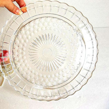 Vintage Cake plate, Federal Glass round Bubble & Panel pattern footed cake plate, cookie  cupcake plate, Mid Century 1950's