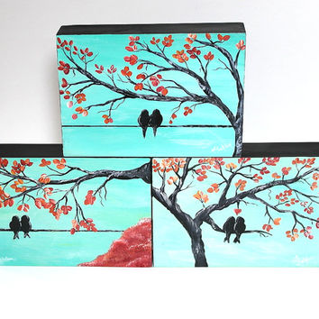 Wedding Decor Guest Book Table Decor Original Painting Love Bird Painting Mint and Coral Wedding Gift for Couple Love Birds Art Anniversary