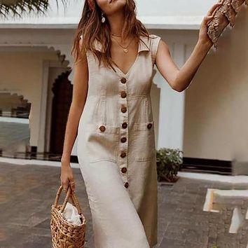 LASPERAL 2020 Summer Button Boho Style Dress V Neck Waist Plus Size Casual Solid Color Sleeveless V Neck Pockets Midi Dress
