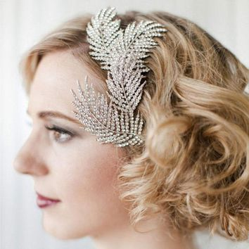 New Bridal Headwear Wedding Hair Accessories Rhinestone Feather Hairpins Head Jewelry Hair Clip Comb for Women Z0872