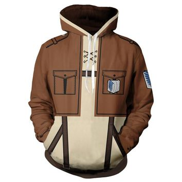 Cool Attack on Titan Anime  Levi Mikasa Eren Cosplay Costumes Men Women Hoodies Sweatshirts Spring Jacket Coat Luxtees AT_90_11