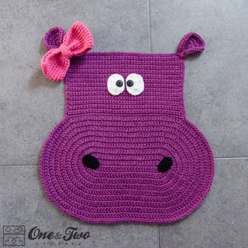 Instant Download - PDF CROCHET PATTERN - Hippo Rug - Permission to Sell Finished Items