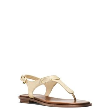 Metallic Saffiano Leather Sandal | Michael Kors