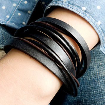 3 circles Brown Leather Wrap With Antique Silver