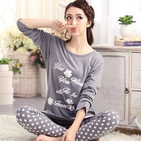 Pajamas Women Cotton Sleepwear Long Sleeve