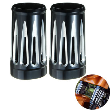 1Pair Motorcycle Edge Cut Black Billet Aluminum Fork Boot Slider Cover Cow RSD For Harley/Davidson Touring 1997-2013