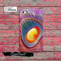 Pink Peacock Feather Cute Custom iPhone 4 and 4s Case and Custom iPhone 5 and 5s and 5c Case