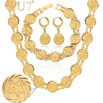 Choker Necklace Bracelet And Earrings Set Gold Color Religious Antique Coin Islamic Wedding