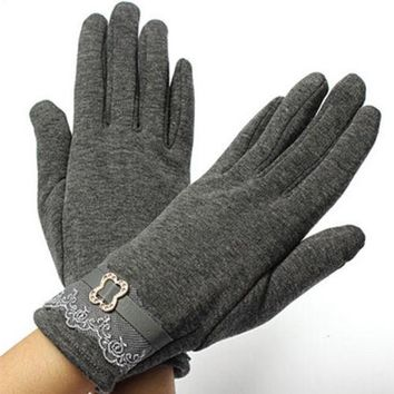 5 Colors  Vintage Lace Touch Screen Gloves Ladies Winter Warm Free Shipping