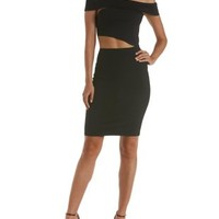 Black Off-the-Shoulder Cut-Out Bodycon Dress by Charlotte Russe