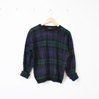 Vintage Dark Plaid Cosby Sweater