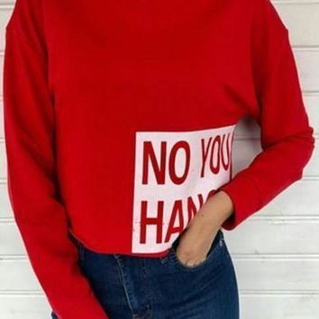 Red Monogram Print Band Collar Crop Fashion Pullover Sweatshirt