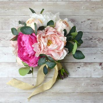 Peony Bridesmaid Bouquet wedding flowers pink buque de noiva