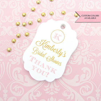 Bridal shower tag (30) - Personalized bridal shower tags - Monogram bridal shower - Bridal shower favor tag - Thank you bridal shower tags