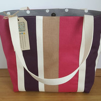 Stripy pink lined tote bag with pocket, . Gift for Women, Sturdy shopping tote, Fabric bag, Ladies purse, Brown knitting project bag, Bags