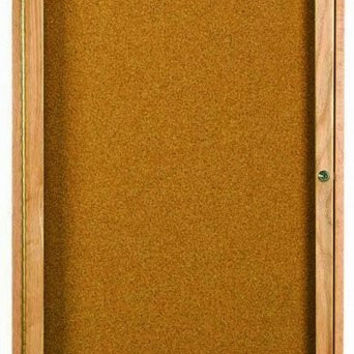 """Enclosed Indoor 18""""x24"""" One Door Natural Red Oak High Gloss Clear Lacquer Finish Cork Bulletin Board"""