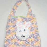 Easter bag crochet, Girl  Tote  Bunny, Lunch bag for girls