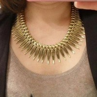 New arrival Punk power feather Vintage Antique bronze Dress necklace 1PCS