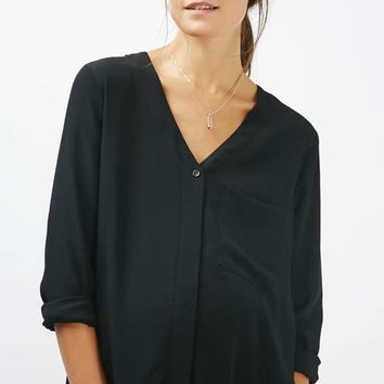 MATERNITY Long Sleeve Slouch Pocket Shirt - Maternity - Clothing