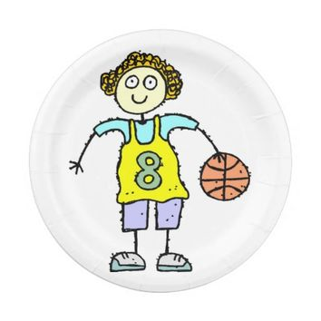 Basketball Girl Birthday Party Paper Plates