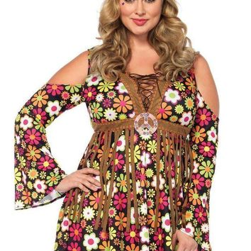 ESBI7E 2PC.Starflower Hippie,cold shoulder floral fringe dress,flower headband in MULTICOLOR