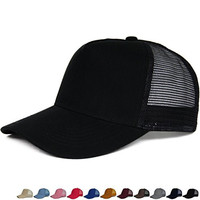 R&S Men's Women's Summer Casual Mesh Baseball Hats Solid Color Twill Cotton B015