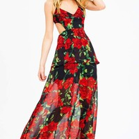 Red Floral Cutout Sides Maxi Dress