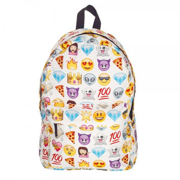 Canvas Backpacks Smiley Emoji Face 3D Printing School Bag
