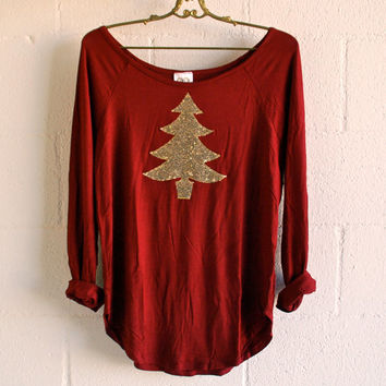 Sequin Christmas Tree Patch Slouchy Pullover T Shirt in Cranberry w/ Gold Tree Sequin Patch Womens  Shirt Holiday Christmas Gift Idea