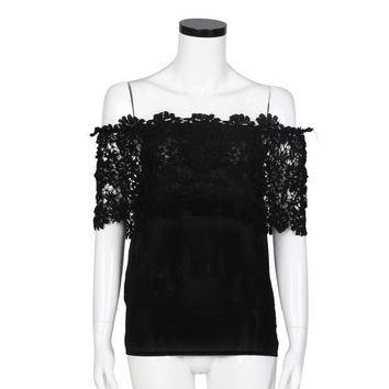 Sexy Women Off Shoulder Casual Tops Blouse Lace Crochet Chiffon Shirt