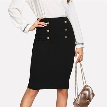 Double Button Women Skirt High Waist Knee Length Solid Pencil Skirt  Elegant Skirt