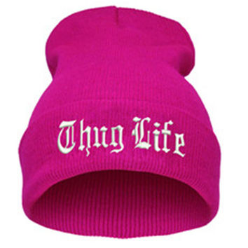 THUG LIFE Letter Embroidered Unisex Beanie Fashion 2pac Hip Hop Mens & Womens Knitted Rose Pink & White Tupac Cuffed Skully Hat