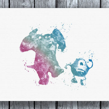 Monster's Inc. Mike and Sully Watercolor Art Print Instant Download