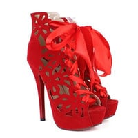 Red Stiletto Cut Out Heel Boots With Lace-Up Design