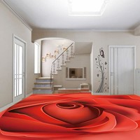 Modern 3D Floor Wallpaper Red Rose Photo Mural Waterproof PVC Self Adhesive Vinyl Living Room Bedroom Bathroom Flooring Stickers