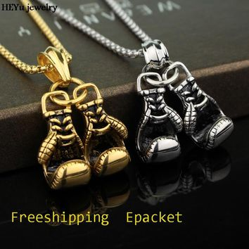 Boxing Glove Mens Pendant Necklace Gold Silver Plated Sport Boxing Power Jewelry Metal Charm gift for men Holders Chain Necklace