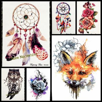 New 21x15CM Dreamcatcher Decal Waterproof DIY Tattoo Sticker Women Body Art Dream Catcher Indian Feather Temporary Tattoos Men