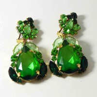 Green Czech Glass Dangling Melon Green Rhinestone Clip Earrings