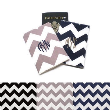 Couples personalized chevron passport covers, fabric passport cases, passport holders. Choose your chevron and monogram colors! Wedding gift