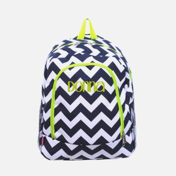 Monogrammed Large Navy Blue and White With Lime Trim Chevron Backpack