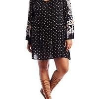 PLUS SIZE LONG SLEEVE BOHO PRINT SHIFT DRESS