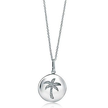 Sterling Silver Necklace Cubic Zirconia CZ Palm Tree Medallion Pendant #n804